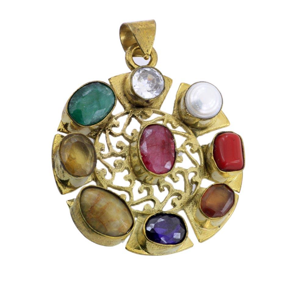modern navaratna pendant ruby