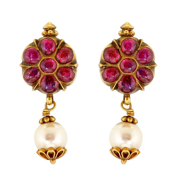 antique pearl and ruby earrings
