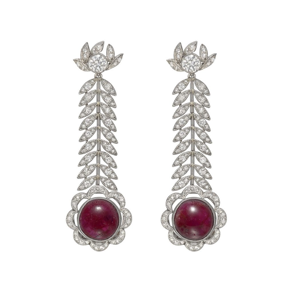 antique ruby chandelier earrings