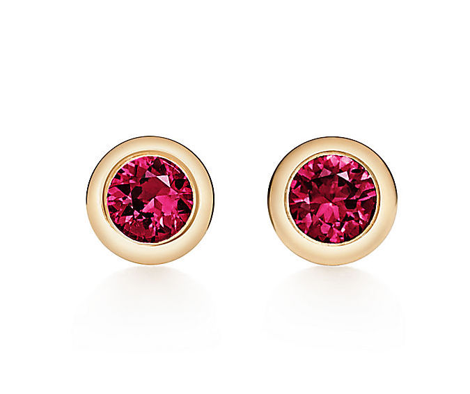 bezel set ruby earrings