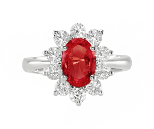 oval ruby flower engagement ring