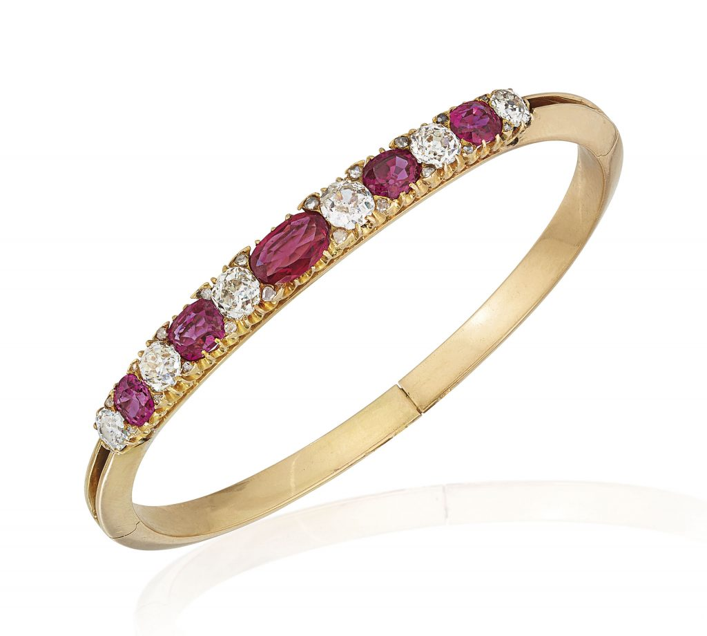 ruby diamond gold bangle