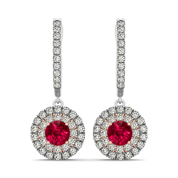 ruby drop diamond earrings