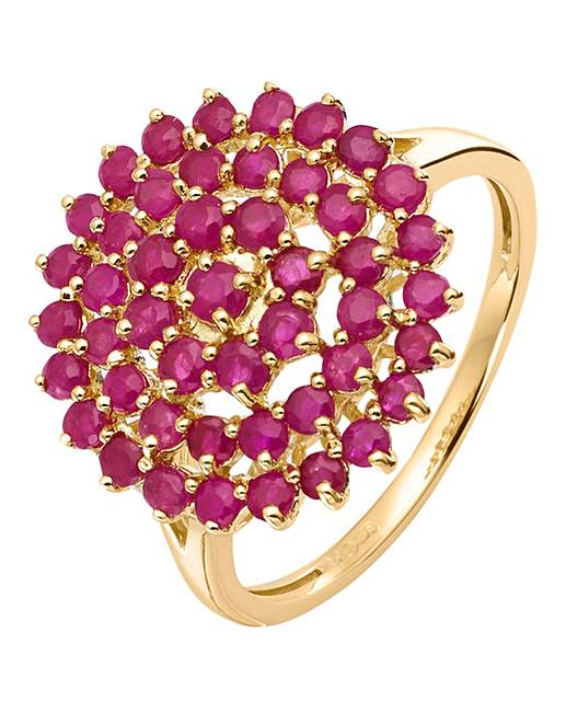 ruby gold cluster ring