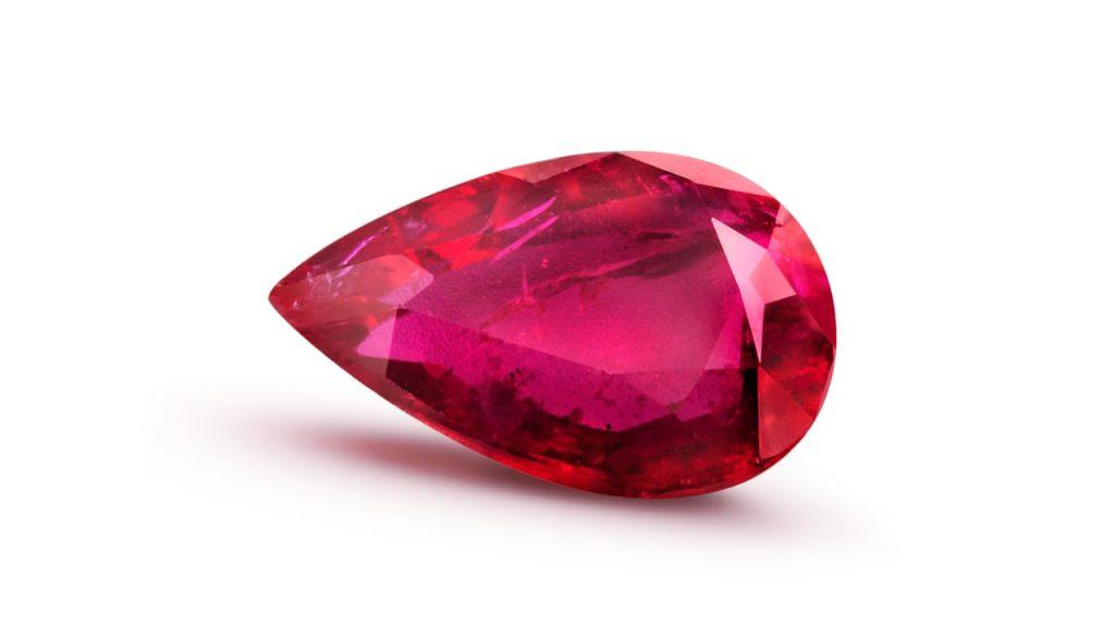 ruby pear shaped gemstone