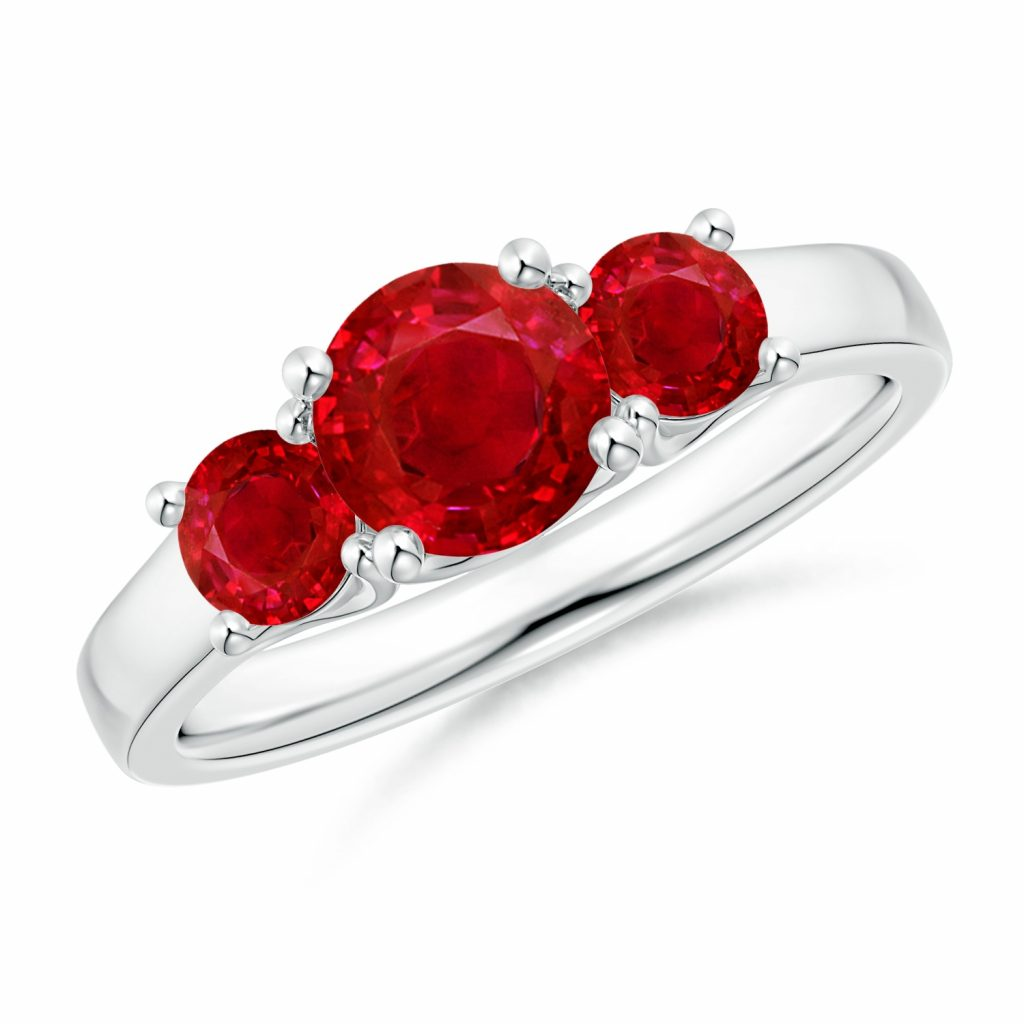 ruby three stone ring