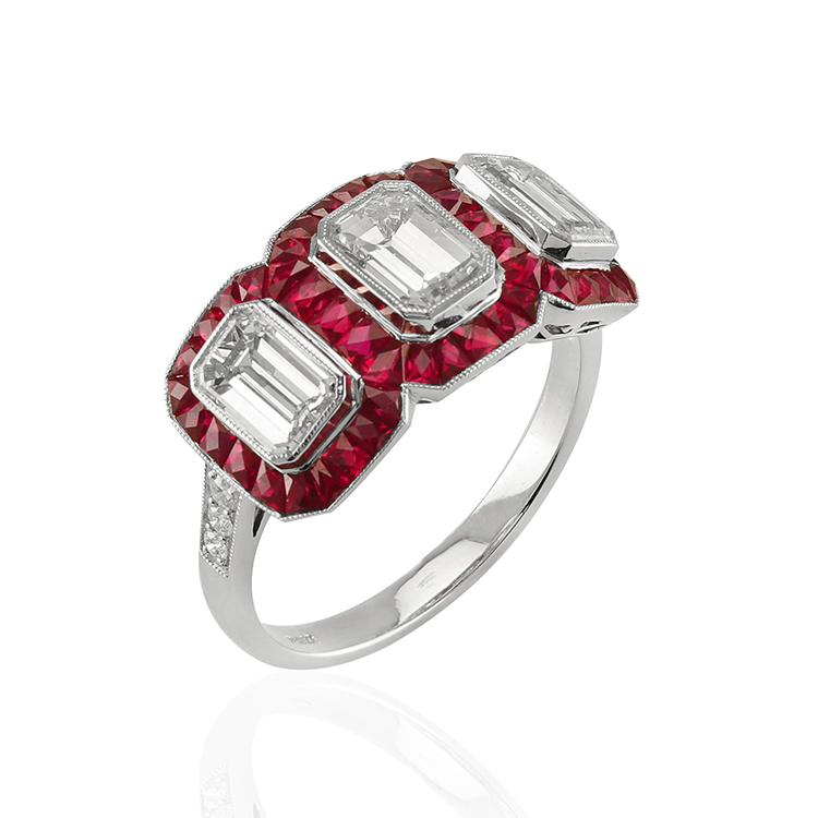 natural ruby ring emerald cut art deco
