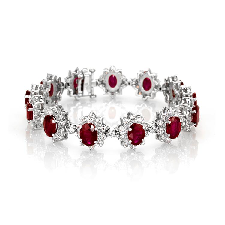 ruby chain link bracelet platinum
