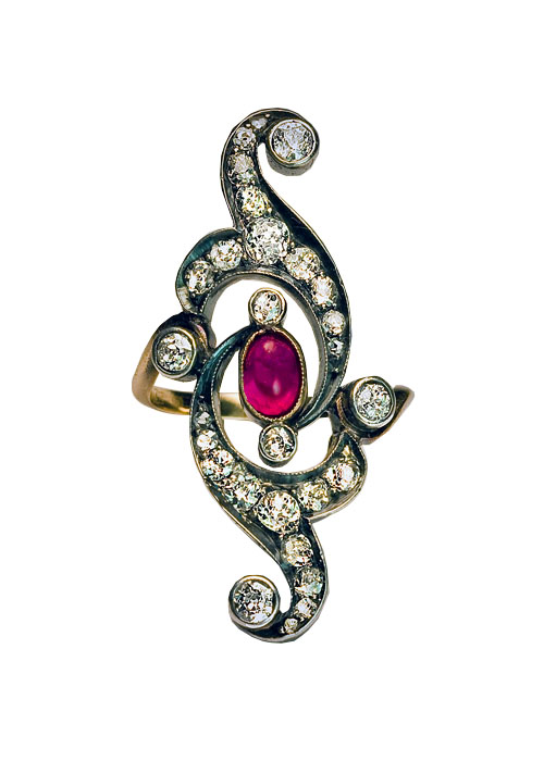 art nouveau ruby diamond ring