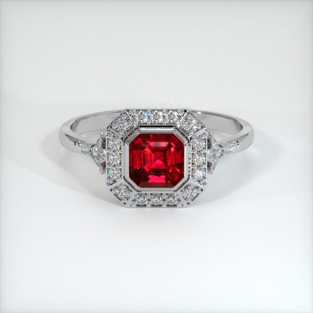 asscher cut ruby engagement ring