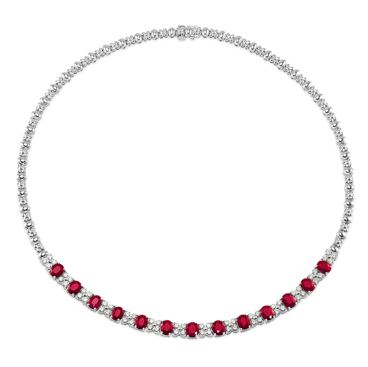natural ceylon oval ruby necklace