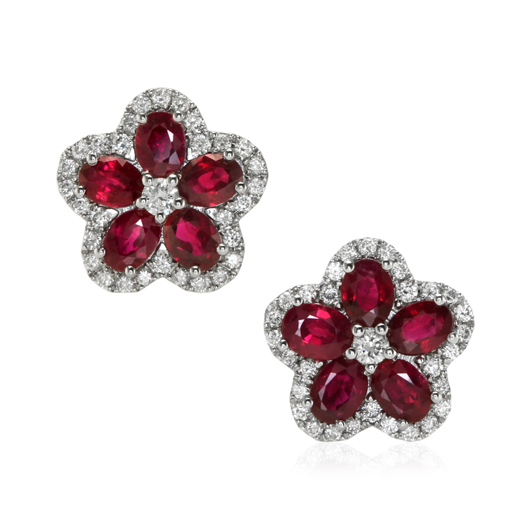 certified natural madagascar oval ruby earrings