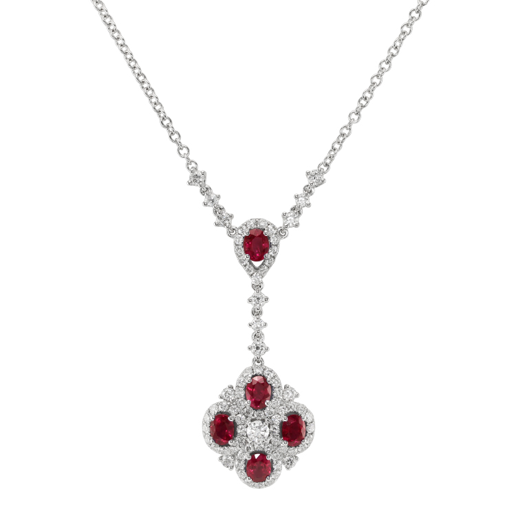 natural mozambique oval ruby necklace