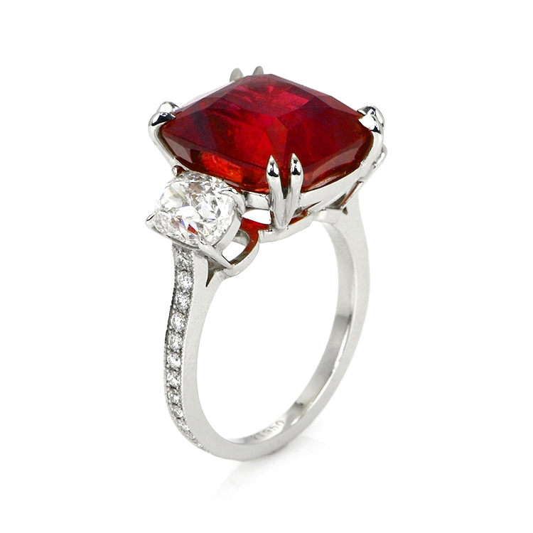 natural untreated mozambique cushion ruby ring