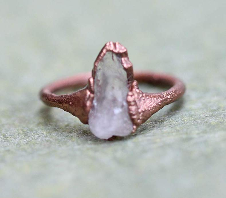 copper quartz electroformed ring