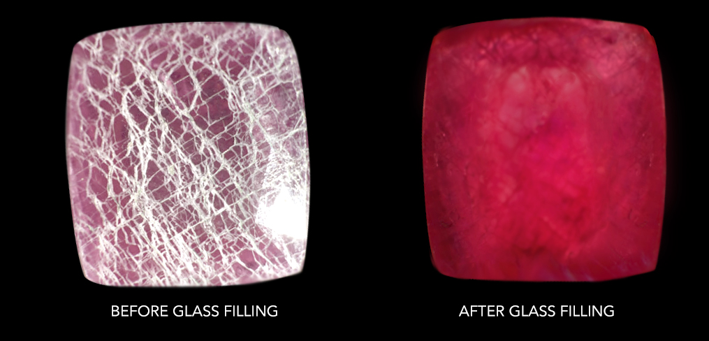 glass filling ruby treatment gemstone