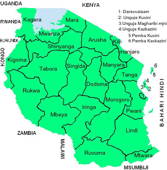 map tanzania rubies