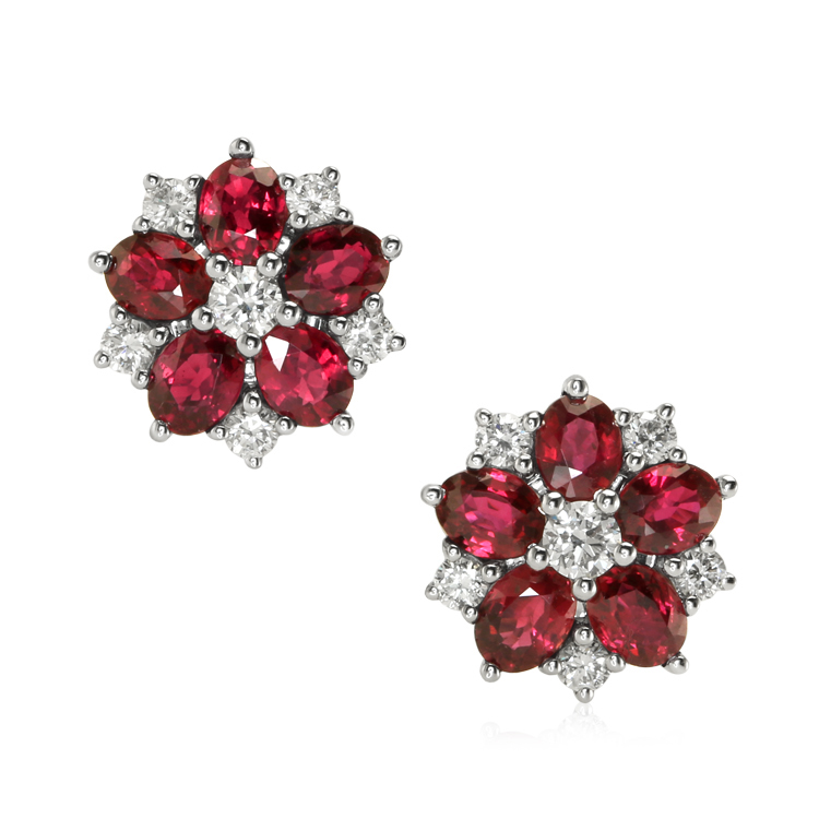 natural madagascar oval ruby earrings 2.30 cts