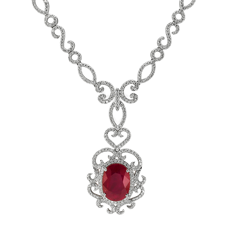 natural madagascar oval ruby necklace