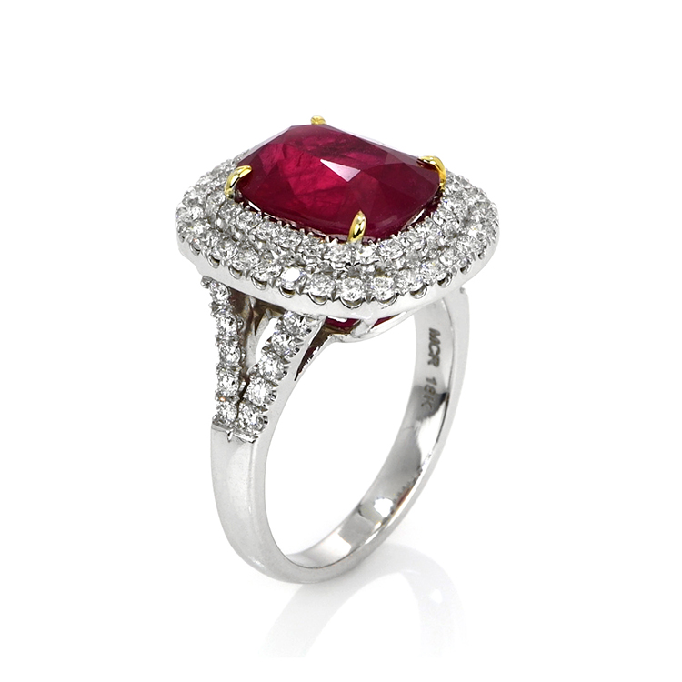 natural mozambique cushion ruby engagement ring 5.32 cts