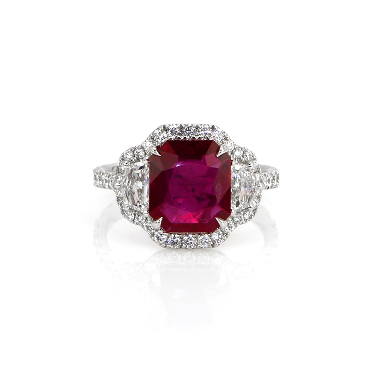 natural mozambique radiant ruby ring 2.92 cts