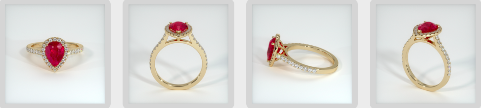 pear shaped ruby engagement ring rendering
