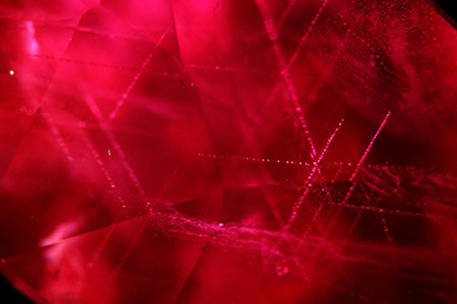 silk rutile inclusions in rubies