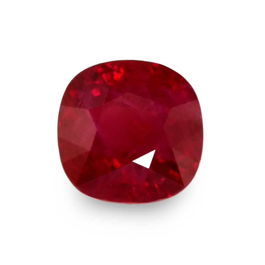 square cushion cut ruby