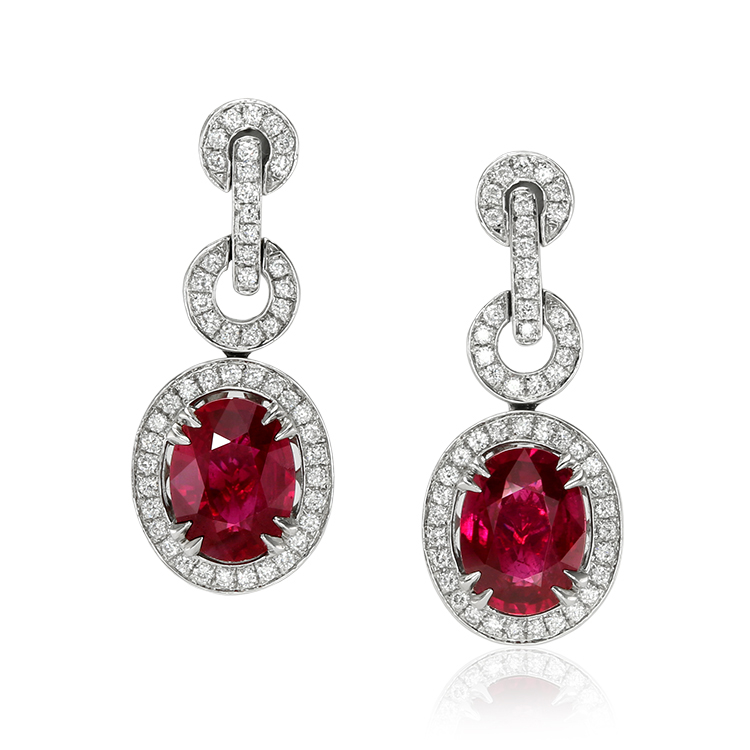 untreated mozambique oval ruby earrings